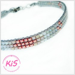 BRANSOLETKA TKANA KiS MINI LIGHT GREY