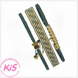 ZESTAW BRANSOLETEK KiS MINI GREEN GOLD SET